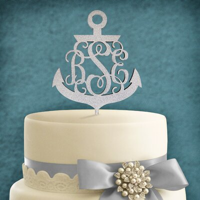 Personalized 3 Letter Anchor Wooden Cake Topper