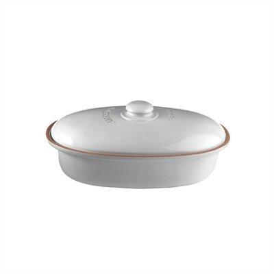 Römertopf Oval Brottopf aus Naturton in weiß