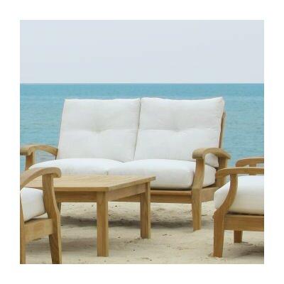 Cayman Teak Loveseat with Sunbrella Cushions Fabric: Natural