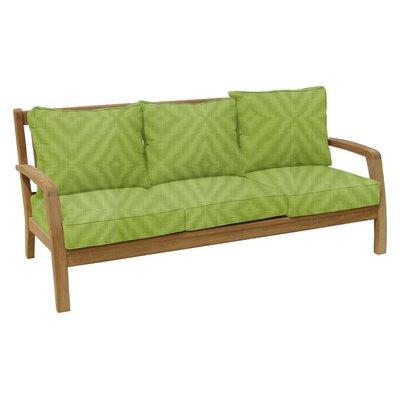 Somerset Teak Patio Sofa with Sunbrella Cushions Fabric: Parrot