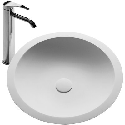 Schreyer True Solid Surface Circular Vessel Bathroom Sink with Faucet