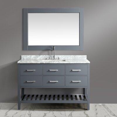 "London Cambridge 54"" Single Bathroom Vanity Set with Mirror Base Finish: Gray"