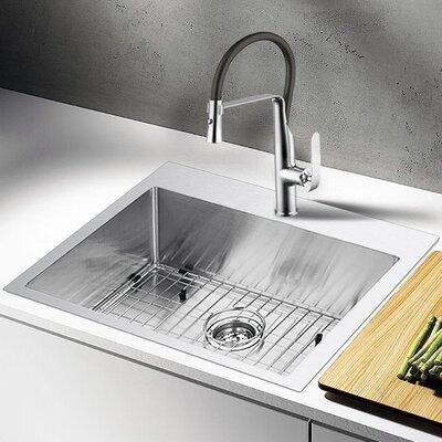 "Water Creation 25"" L x 22"" W Drop-In Kitchen Sink with Strainer"