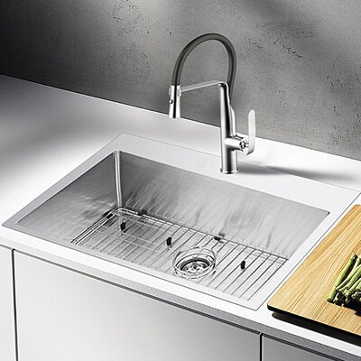 "Water Creation 33"" L x 22"" W Drop-In Kitchen Sink with Strainer"