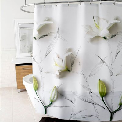 3D Lilies Floral Polyester Shower Curtain