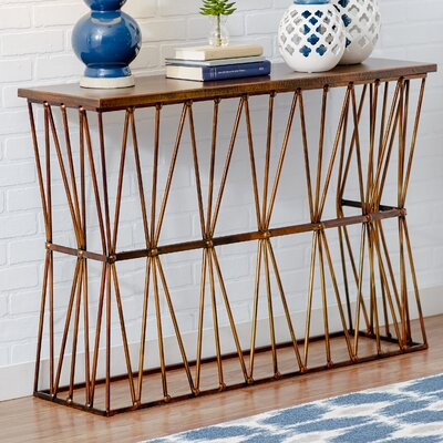 Brookover Console Table Table Base Color: Metallic bronze, Table Top Color: Copper bronze