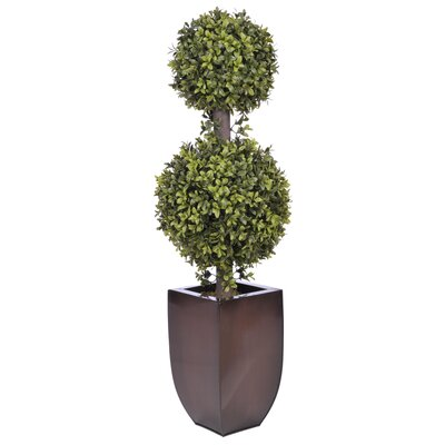 Artificial Double Ball Topiary in Planter Base Color: Dark Copper Zinc