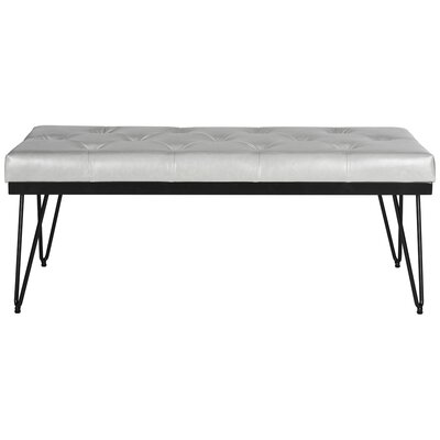 Varner Faux Leather Bench Color: Gray / Black