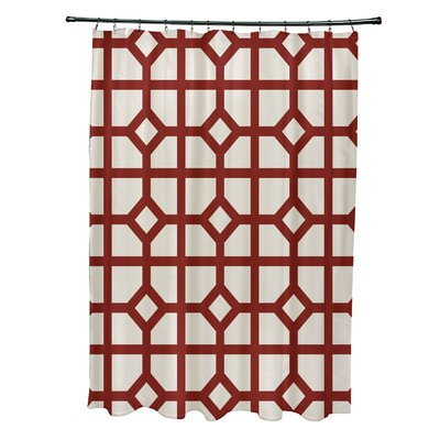 Ketchum Don't Fret Geometric Print Shower Curtain Color: Orange