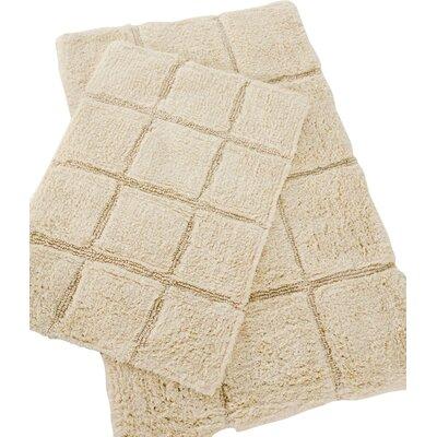 Pacific Block 2 Piece Bath Rug Set Color: White