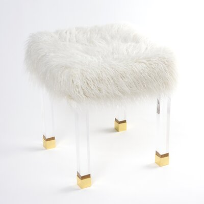 Nilsa Faux Fur Acrylic Accent Stool Color: White