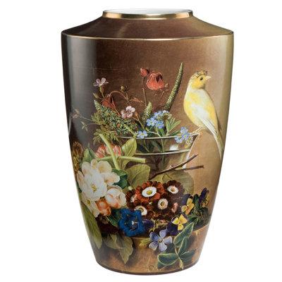 Goebel Vase Stillleben mit Kanarienvogel