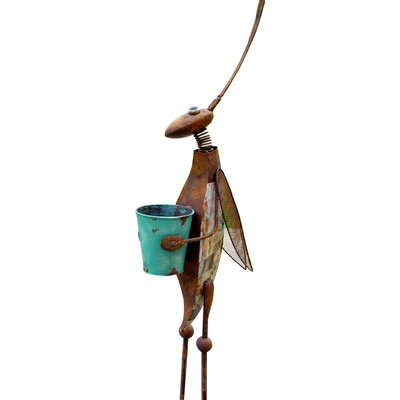 Adobe Quirky Bucket Grasshopper Statue