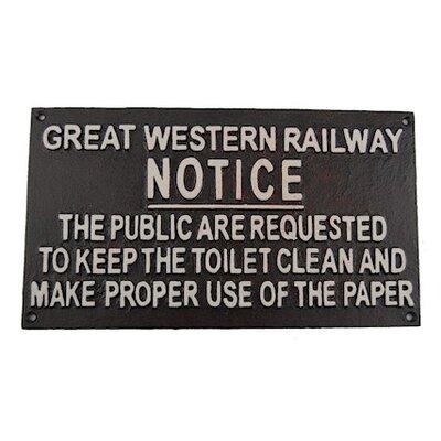 Ascalon Toilet Notice Typography Plaque