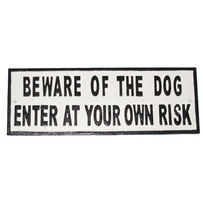 Ascalon Beware of The Dog Typography Plaque