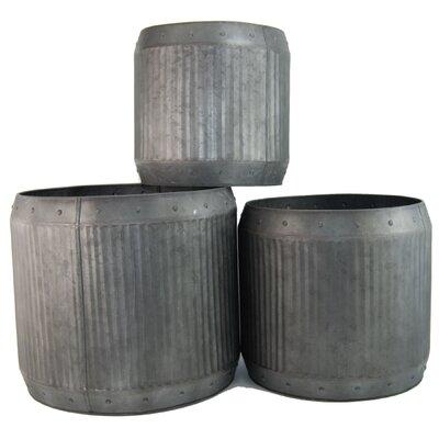 Ascalon Low Dolly 3 Piece round Pot Planter Set