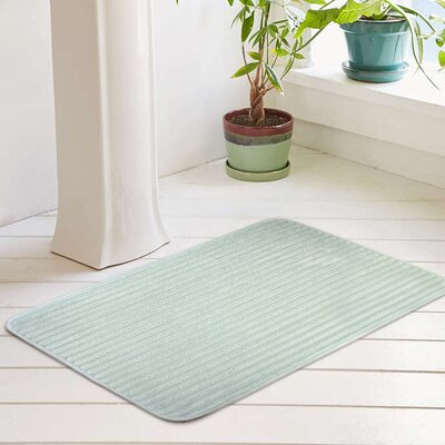 """Ariana Textured Memory Foam Anti-Fatigue Bath Rug with Woven Stripe Color: Misty Blue, Size: 17"""" W x 24"""" L"""