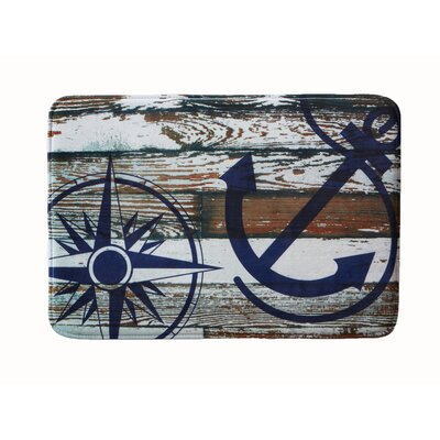 "Eliza Plush Memory Foam Anti-Fatigue Coastal Beach Theme Bath Rug Color: Anchor, Size: 17"" W x 24"" L"