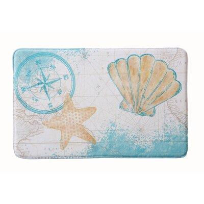 "Eliza Plush Memory Foam Anti-Fatigue Coastal Beach Theme Bath Rug Color: Sea Shell, Size: 20"" W x 32"" L"
