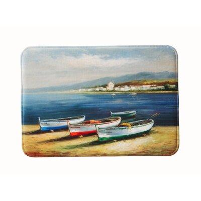 "Eliza Plush Memory Foam Anti-Fatigue Coastal Beach Theme Bath Rug Color: Boats, Size: 17"" W x 24"" L"