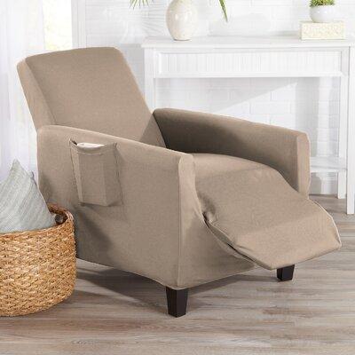 Box Cushion Recliner Slipcover Upholstery: Tan