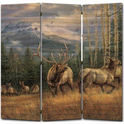 Back Country Elk 3 Panel Room Divider