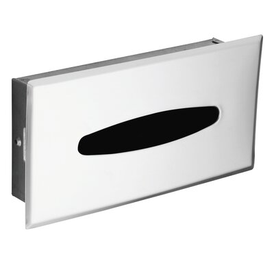 Hotel Motel Recessed Facial Tissue Box in Polished Chrome