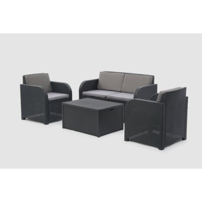 Allibert Modena 4 Seater Sofa Set with Cushions