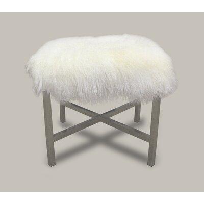 White Tibetan Lamb Stainless Steel Cross Stool