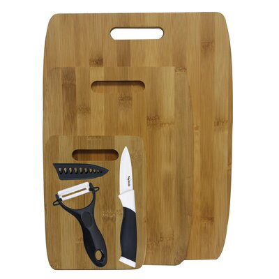 6 Piece Bamboo Ceramic Cutting Board Set Color: Black