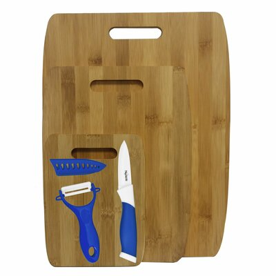6 Piece Bamboo Ceramic Cutting Board Set Color: Blue
