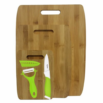 6 Piece Bamboo Ceramic Cutting Board Set Color: Green