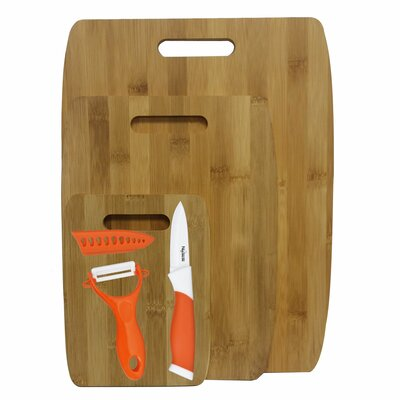 6 Piece Bamboo Ceramic Cutting Board Set Color: Orange