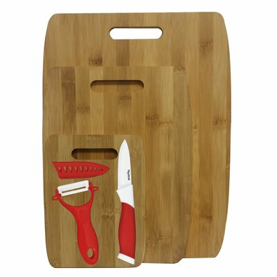 6 Piece Bamboo Ceramic Cutting Board Set Color: Red
