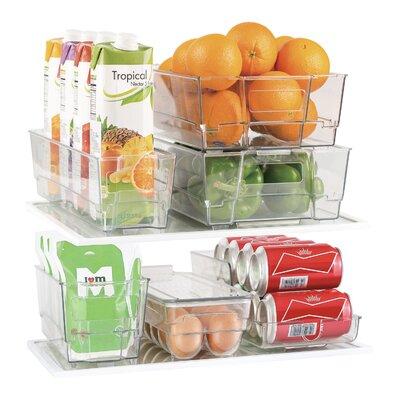 7 Piece Refrigerator and Freezer Stackable Fridge Bin Set