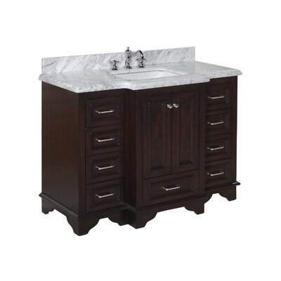 "Nantucket 48"" Single Bathroom Vanity Set Base Finish: Chocolate, Top Finish: Carrara Marble"