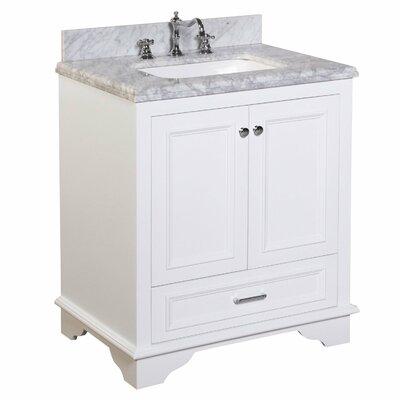 "Nantucket 30"" Single Bathroom Vanity Set Top Finish: Carrara Marble, Base Finish: White"