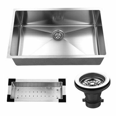 """32"""" L x 19"""" W Undermount Kitchen Sink with Sink Grid and Strainer"""
