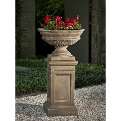 Stone Pedestal Urn Planter Color: Natural