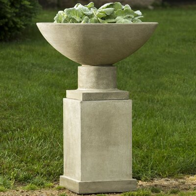 Savoy Pedestal Cast Stone Urn Planter Color: Natural