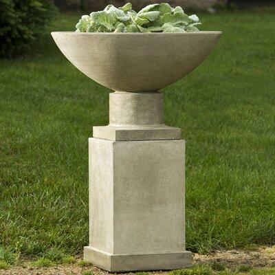 Savoy Pedestal Cast Stone Urn Planter Color: Ferro Rustico Nuovo