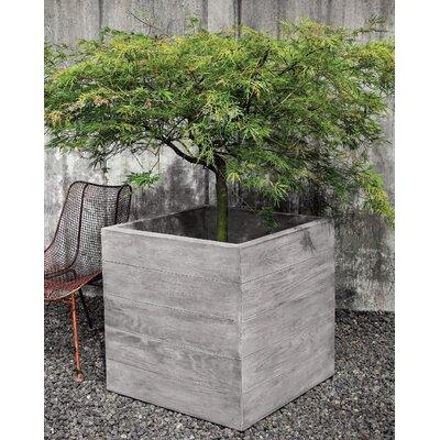 """Chnes Brut Cast Stone Planter Box Size: 28"""" H x 28"""" W x 28"""" D, Color: Copper Bronze"""