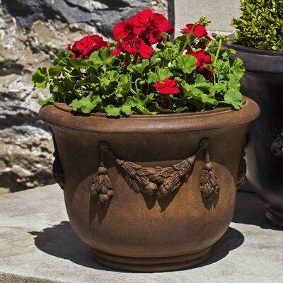 """Della Robbia Cast Stone Pot Planter Size: 14.25"""" H x 19.5"""" W x 19.5"""" D, Color: Copper Bronze"""