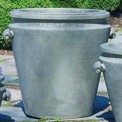 "Scroll Handle Cast Stone Pot Planter Color: Aged Limestone, Size: 19"" H x 22"" W x 20"" D"