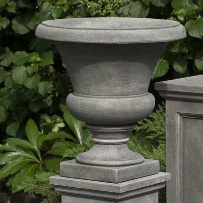 Mt. Airy Round Stone Urn Planter with Pedestal Color: Ferro Rustico Nuovo