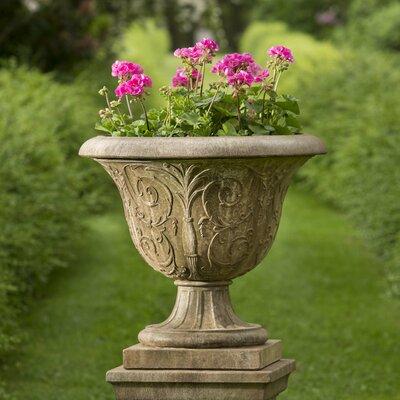 Palais Arabesque Pedestal Cast Stone Urn Planter Color: Ferro Rustico Nuovo