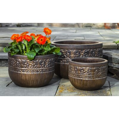 Quebrada 3-Piece Terra Cotta Pot Planter Color: Bronze