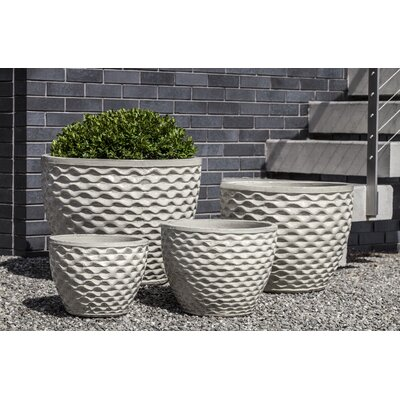 Honeycomb 4-Piece Pot Planter Set Color: Cream