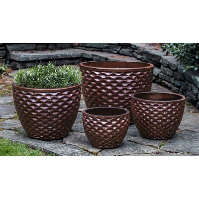 Honeycomb 4-Piece Pot Planter Set Color: Maple Red