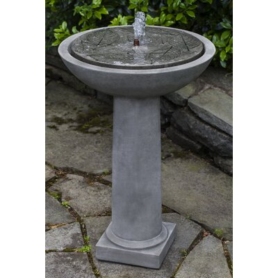Hydrangea Concrete Leaves Birdbath Fountain Finish: English Moss